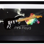Quadro David Gilmour com Mini Guitarra